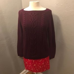 Talbots maroon cable knit sweater